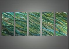 Modern Abstract Green Metal Wall Art 60 x 24in