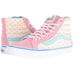 Vans SK8-Hi Slim X Toy Story Collection ((Toy Story) Bo Peep/True... ($70) ❤ liked on Polyvore featuring shoes, sneakers, high top shoes, polka dot sneakers, white skate shoes, white sneakers and white trainers