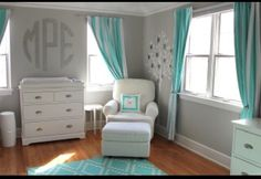 Gray, white and Teal nursery
