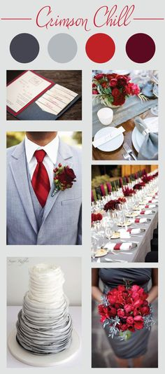 Crimson Wedding Color Palette - LinenTablecloth - - Are you planning a winter wedding? Then check out this inspiration board featuring a crimson wedding color palette. Gray Wedding Colors, Wedding Color Schemes, February Wedding Colors, Red Grey Wedding, Burgundy Silver Wedding, Wedding Colora, Wedding Color Palettes, Wedding Flowers, Winter Wedding Colors