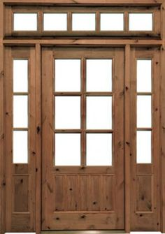 Front Door Single Knotty Alder with Side Lights and Transom