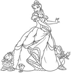 Free Coloring Sheets Pages Disney Princess The Beauty And Beast Belle For Kids