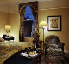 Fairmont Le Chateau Frontenac is a castle-like structure towering above Old Quebec City in Canada. The 618 guest rooms and suites are spacious and beautifully furnished. For castle charm at home, take inspiration from the rich damask and toile fabrics used in the hotel rooms.