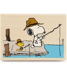 Stampabilities Peanuts Rubber Stamp - Fishing Time