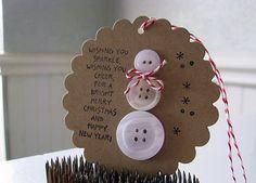 Vintage Button Snowman Tag