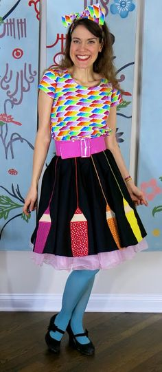 Cassie Stephens: DIY: A Color Wheel Circle Skirt, Blouse of Many Colors and the Crayola Experience!