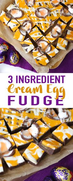 Learn how to make Creme Egg fudge with this super simple and easy recipe. This slow cooker fudge recipe uses your crock pot for simple and delicious fudge every time. Just 3 ingredients! No boiling of sugar, it uses condensed milk and chocolate instead. Such a delicious treat as an Easter sweet or dessert. #tamingtwins #Easter #cremeegg #slowcooker #slowcookerfudge