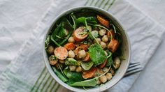 Carrots, Watercress, and Chickpeas with The Greenest Tahini Sauce Recipe