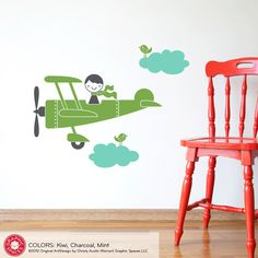 airplane wall decals for kids rooms | Kids Airplane Boy Wall Decal Baby Nursery by graphicspaces on Etsy