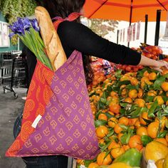 Tie the straps long enough to put over your shoulder and keep both hands free at the market!