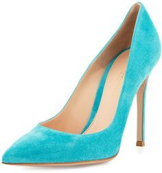 """Gianvito Rossi suede pump. 4.3"""" covered heel. Pointed toe. Topstitched collar. Smooth outsole. """"Gianvito"""" is made in Italy."""