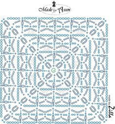 Motifs Granny Square, Crochet Square Blanket, Crochet Squares Afghan, Granny Square Crochet Pattern, Crochet Diagram, Afghan Crochet Patterns, Crochet Chart, Crochet Granny, Filet Crochet