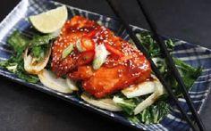 Terriyaki salmon with pak choi, ginger and lime