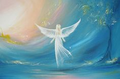 Title: believe in your dreams - 8 x 12 inches - glossy - limited photo of one of my paintings Angels are light natures, which belong
