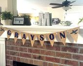Airplane Name Banner, Airplane Theme, Up Up and Away, Custom Name, Birthday Party, Baby Shower, Bunting, Burlap,