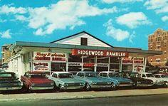 1966 Ridgewood Rambler, Inc., Dealership, Ridgewood, New Jersey Bergen County New Jersey, Chevy Dealerships, Used Car Lots, New Car Smell, American Motors, Us Cars, Vintage Cars, Vintage Auto, Vintage Photos