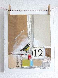 Original Collage Collage Mixed Media Collage Bird by michelemaule