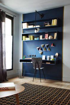 Délimitation d'un coin bureau avec peinture sur une partie du mur  http://www.homelisty.com/peinture-separation-espace/
