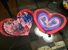 Valentines day crafts that my 2 year old and 9 month old kids made for daddy!
