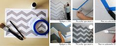 Paredes com estampa chevron.  Faça um molde com as dimensões numa escala menor. Faça o desenho a lápis na parede e cole fitas adesivas /crepe para não deixar a tinta escorrer.