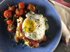 Get Croque Madame Bread Pudding with Herb-Crusted Tomatoes Recipe from Cooking Channel