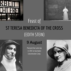 """""""Today, we bow to the memory of Edith Stein, proclaiming the indomitable witness she bore during her life and especially by her death."""" - St John Paul II's Homily on the Canonisation of St Edith Stein"""