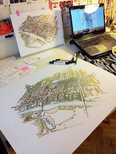 Uniejów, Poland Master Plan Illustration on Behance Landscape Architecture, Architecture Design, Master Plan, Poland, Competition, Design Concepts, How To Plan, Illustration, Behance