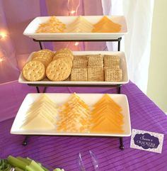 Cheese & Crackers (Food Ideas) Elegant Sofia the First Birthday Party | CatchMyParty.com