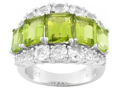 4.10ctw Emerald Cut Manchurian Peridot(Tm) With 1.28ctw Round White Topaz Silver 5-stone Ring