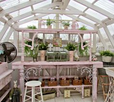 Pink Garden potting bench table- Penny's Vintage Home Thursday SWEET HAUTE Share Link Party