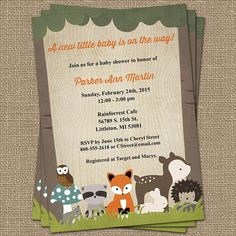 woodland baby shower invitations with forrest animals,  wood grain  Digital, Printable file