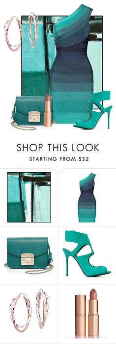 """""""Untitled #3092"""" by empathetic ❤ liked on Polyvore featuring Hervé Léger, Furla, Giuseppe Zanotti, Blue Nile and Charlotte Tilbury"""