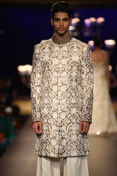 Manish Malhotra at India Couture Week 2014 - gold and white men's sherwani
