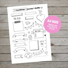 Hand drawn banners and doodles - free printable. Ideal for the bullet journal. Click through to learn more and find out how to download the printable.