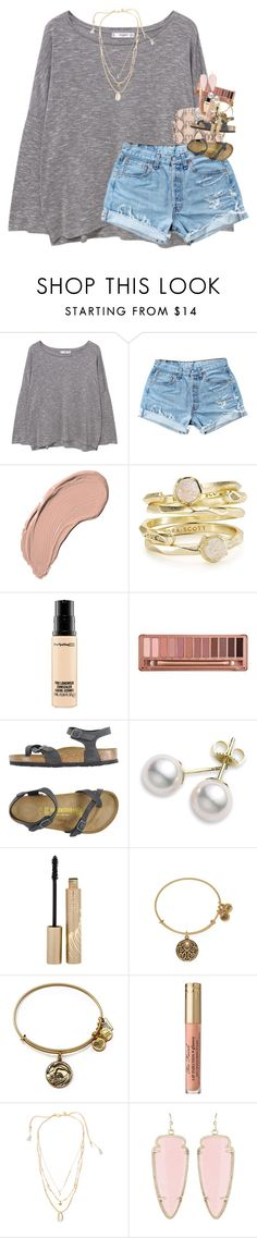 """dreading school "" by classynsouthern ❤ liked on Polyvore featuring MANGO, Levi's, NYX, Kendra Scott, MAC Cosmetics, Urban Decay, Birkenstock, Mikimoto, Stila and Alex and Ani"