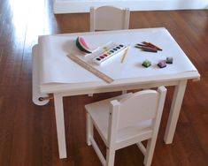 DIY Kiddo Art Table by seaurchinstudio: Made with an Ikea Gulliver table, Beka paper roll and gooseneck brackets! #DIY #Kids #Art_Table