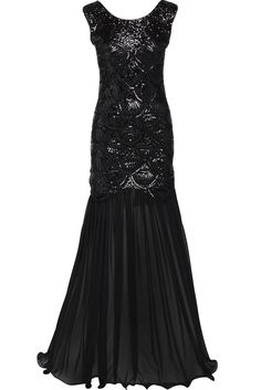 BABEYOND Women's 1920s Long Dress Scale Beaded Sequin Maxi Prom Evening Dress (X-Large)