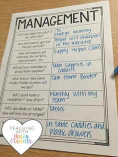 Planning Sheet for Classroom Management by Haley OConnor