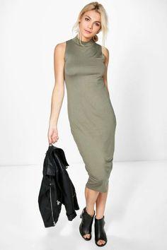 Turtle Neck Sleeveless Midi Bodycon Dress.   dresslover.co.uk