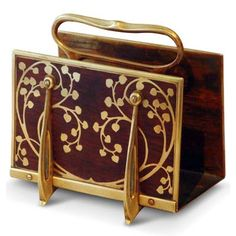 Erhard & Söhne, Letter Rack, Germany, c. 1900, brass with inlaid rosewood, unmarked, 6 x 5 x 4 inches