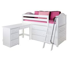 Her room al grown up! The same Maxtrix bed with some changes - remove the top bunk and tent, add storage and desk for a more grown-up look for your teenage girl.