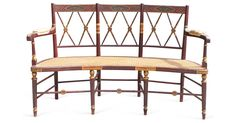"""Beautiful 19th-centurry English bench, with slight curved shape. Caning in excellent condition, very usable. Seat, 16""""H."""