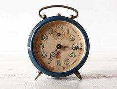 Vintage French SMI BLUE Alarm CLOCK by RueDesLouves on Etsy, $47.00