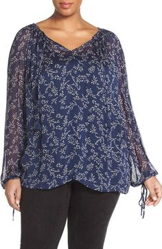 Lucky Brand 'Tossed Flower' Print Peasant Top (Plus Size) available at #Nordstrom