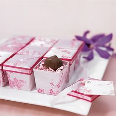 asian brocade cherry blossom themed favor boxes