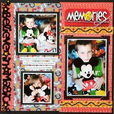 Busy layout, Disney scrapbook layout