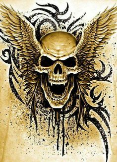 Vampire Skull With Wings *LadySkull* Evil Skull Tattoo, Skull Tattoo Design, Leo Tattoo Designs, Skull Design, Skull Tattoos, Tatoos, Vampire Skull, Skull Pictures, Wild Pictures