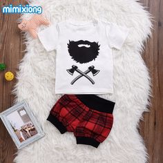 Baby Boys Girls Clothes 2017 Halloween Short Sleeve Costume Summer White Tees + Red Tartan Shorts Outfit For Toddler Boys Casual