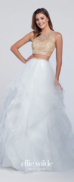 Prom Dresses 2018 Prom Dresses 2017 - Ellie Wilde for Mon Cheri - Two-Piece White and Gold Metallic Lace Cropped Top and Tulle Skirt Prom Dress - Style No. Prom Dresses Two Piece, Prom Dresses 2018, Grad Dresses, Birthday Dresses, Two Piece Quinceanera Dresses, Dresses Dresses, Dress Prom, Fall Dresses, Long Dresses