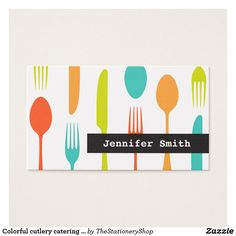Elegant cutlery catering or chef business cards. Retro chef or catering business cards featuring colorful cutlery on a white background. Pink, turquoise, orange and yellow-green. High Quality Business Cards, Unique Business Cards, Business Card Design, Bar Restaurant Design, Colorful Restaurant, Design Café, Logo Design, Design Ideas, Graphic Design